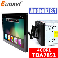 Eunavi 2 din 10.1'' quad core TDA7851 Android 8.1 Car Radio GPS Navigation with capacitive screen stereo Bluetooth wifi 3g swc