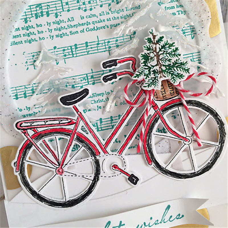 Eastshape Bicycle Dies Merry Christmas Metal Cutting Craft Tree Rabbit Frame Diecut for DIY Card Making Album Scrapbooking