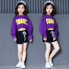 Kids Girls Two Pieces Set For Summer Fashion Purple Crop Top Long Sleeve And Black Shorts Teenage Clothes