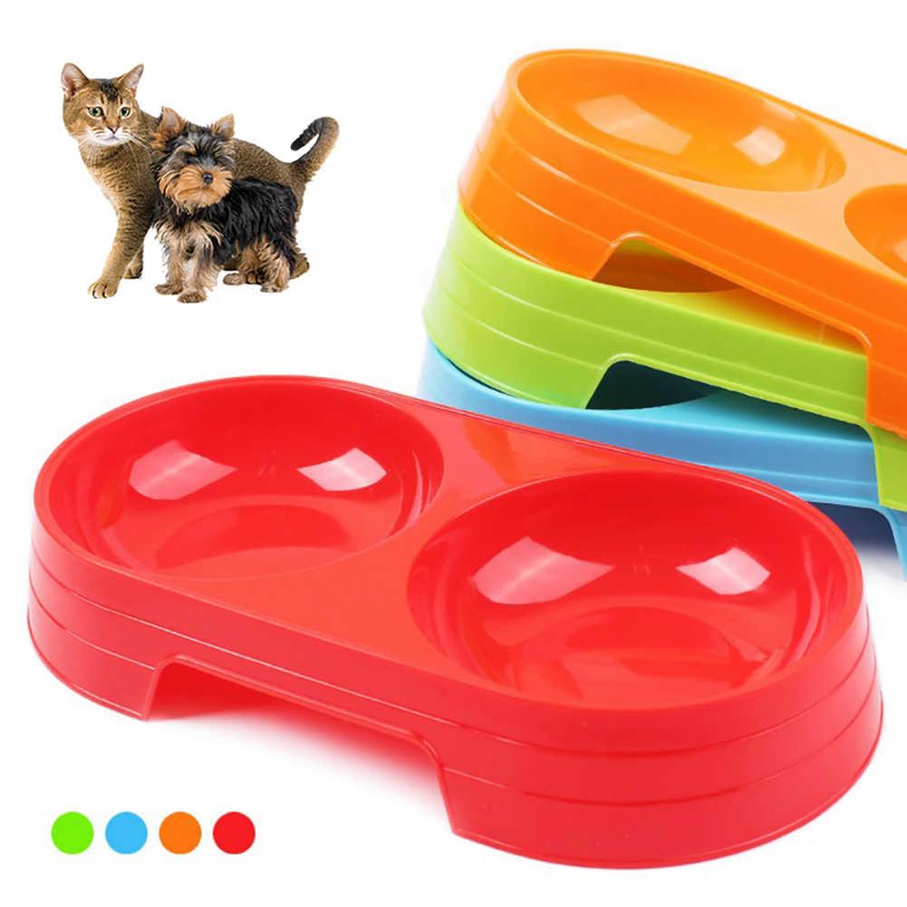 POP ITEM! Pet Puppy Hond Kat Voedsel Water Dish Feeder Plastic Geen Slip Dubbele Kom Dispenser