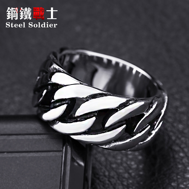 steel soldier titanium steel Gothic chain ring personality retro ring for men stainless steel ring jewelry 4
