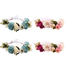 Headband Flower Crown Match Garland Hair Band Accessories for Mom anad Kids Flower Headband Newborn Baby