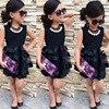 Mesh Patchwork Bodycon Dress Sexy Dress Sleeveless Princess Party Flower Tutu Dress Baby Girl Black Children