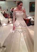 цена на Gorgeous Satin Ball Gown Wedding Dress Lace Appliques Illusion Long Sleeves Bride Gowns Bateau Neck Zipper Closed