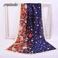Impreso Floral 90*180 cm Tamaño Grande de La Bufanda Para Las Mujeres del Abrigo de Seda Imitado Bufanda Chal Pañuelo A Cuadros Delgada Suave mujeres Bufandas Hijab