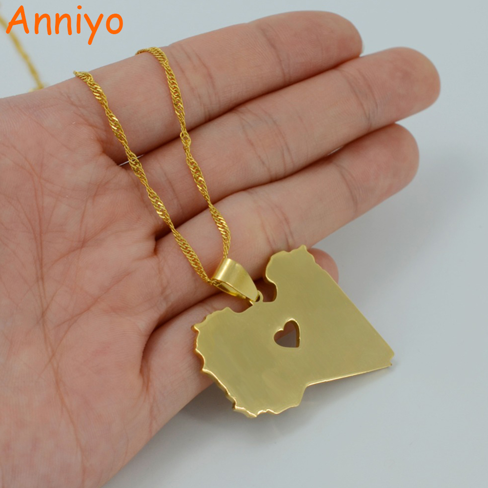 Anniyo State of Libya of Pendant Necklace for Women/Men Gold Color Jewelry Libya Country Map #005521