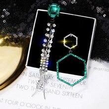 FYUAN Fashion Asymmetry Earrings Long Tassel Earrings Bohemia Green Crystal Statement Earrings for Women Wedding Jewelry Gift