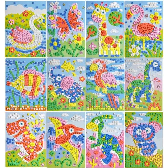 2017 12 estilos de mosaicos 3D pegatina creativa juego animales transporte artes artesanía rompecabezas entrenamiento para niños EVA juguete educativo PQQ22