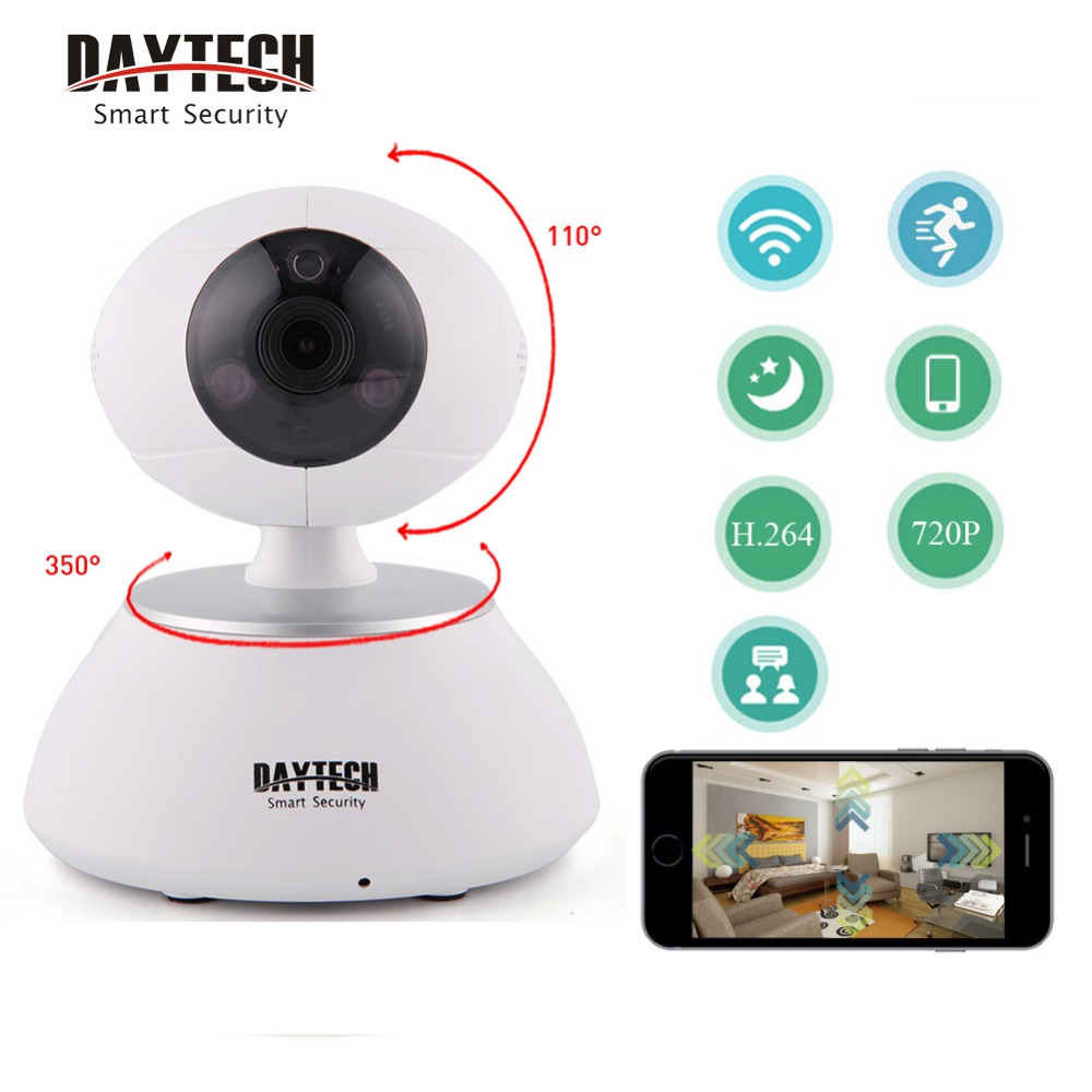 DAYTECH WiFi IP Security Camera Wireless Wi-Fi 720P HD Video Two Way Audio Night Vision Infrared P2P Network Baby Monitor hd 960p wireless ip camera wifi ir cut night vision two way audio p2p video surveillance security camera wi fi micro sd card