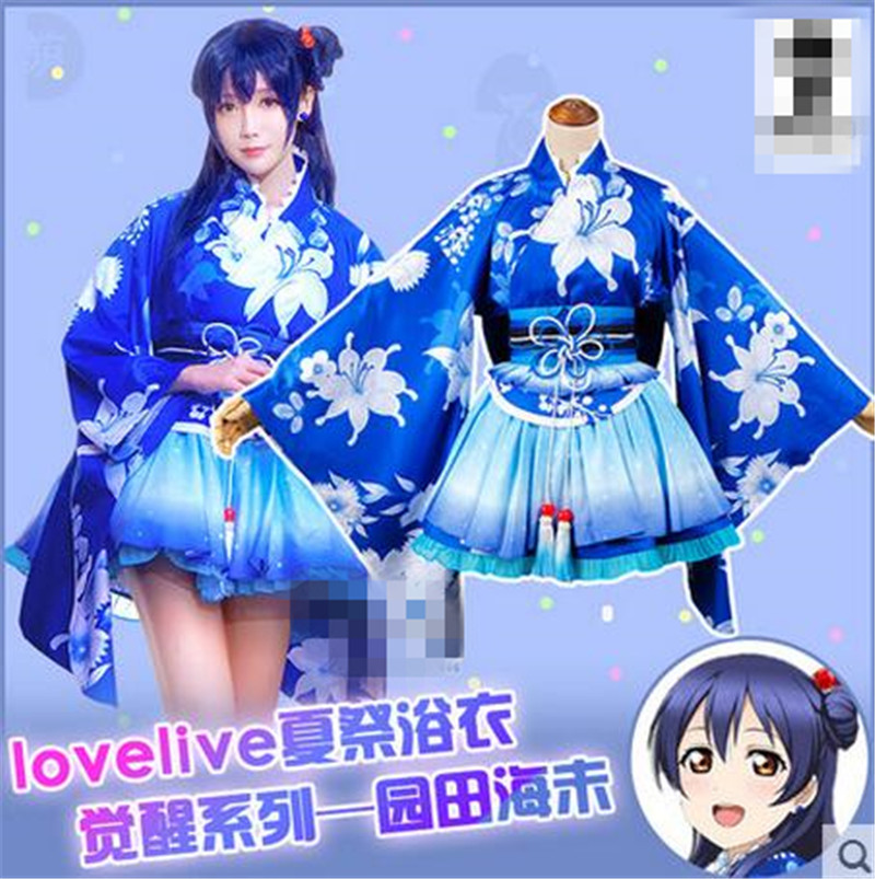Anime Love Live Umi Sonoda Bathrobe Summer Awaken Blue Cosplay Costume full sets O uwowo sonoda umi wig love live hair 80 cm long blue straight heat resistant wig lovelive umi hair