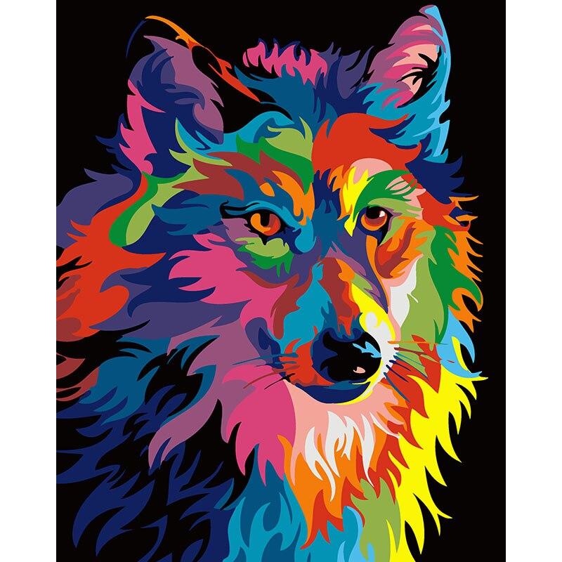 Rahmenlose bunte wolf diy malerei by zahlen wohnkultur moderne wandkunst bild handgemalt für wohnzimmer kunstwerk 40*50 cm