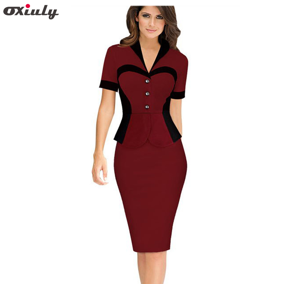 Oxiuly Lady Illusion Patchwork Sheath Buttons Fitted Ruffles Women Bodycon Bandage Dress Brief Business Female Pencil Dresess
