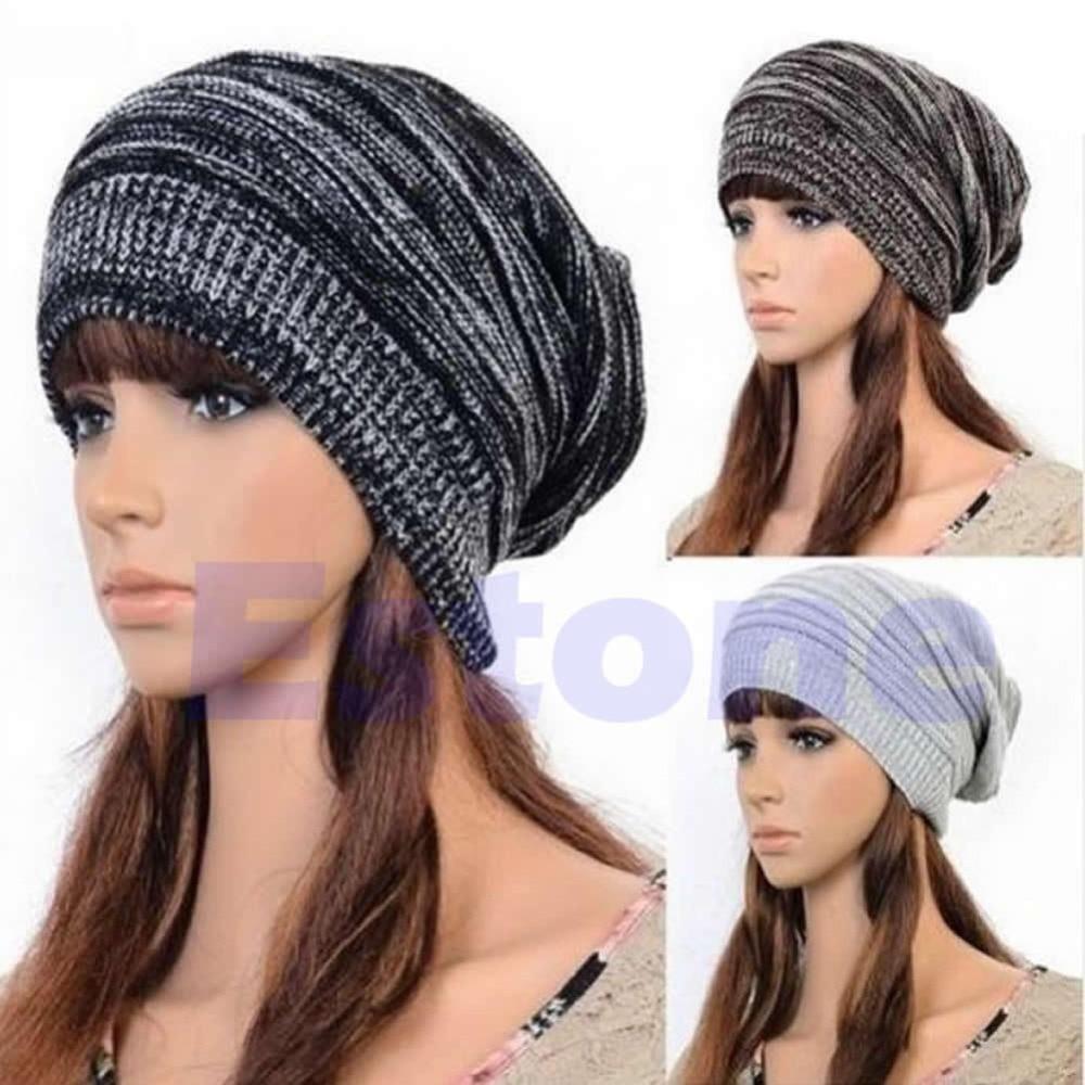New Men Women's Knit Baggy Beanie Beret Hat Unisex Oversized Ski Winter Warm Cap