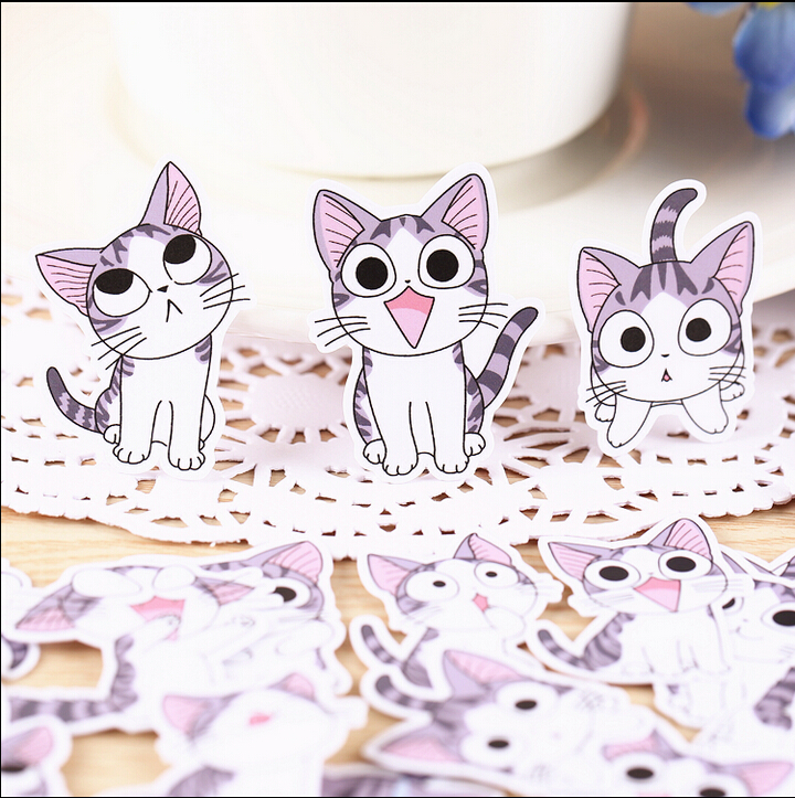 32pcs Creative Cute Self-made Sweet Cat Stickers  Scrapbooking Stickers /Decorative Sticker /DIY Craft Photo Albums/Face