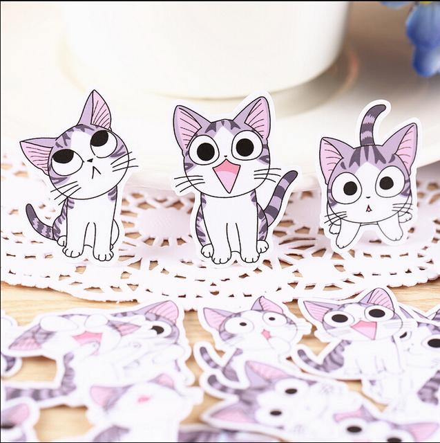 32pcs Creative Cute Self-made Sweet cat stickers  Scrapbooking Stickers /Decorative Sticker /DIY Craft Photo Albums/Face