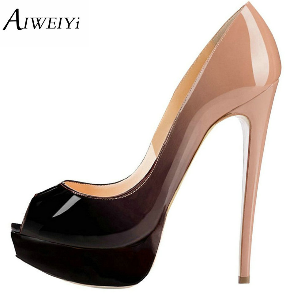 AIWEIYi Women's 16cm Ultra thin Shoes Peep Toe High Heels Platform Pumps Ladies Slip On Stiletto Shoes Wedding Party Pumps taoffen ladies stiletto high heels peep toe shoes shoes women wedding lace sexy casual slip on platform pumps size 31 43 pa00382