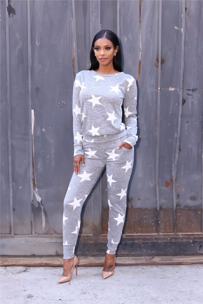 stars printed women autumn tracksuits -2