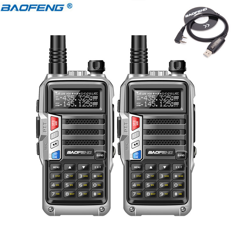 2Pcs BaoFeng UV S9 Powerful Walkie Talkie CB Radio Transceiver 8W 10km Long Range Portable Radio set for forest&city+usb cable-in Walkie Talkie from Cellphones & Telecommunications    1