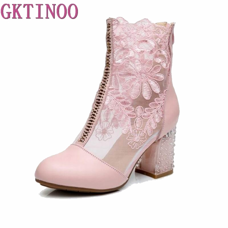 GKTINOO 2019 New Closed Toe Sexy Fashion Sandals Women Shoes Summer Sandals Lace Genuine Leather Shoes
