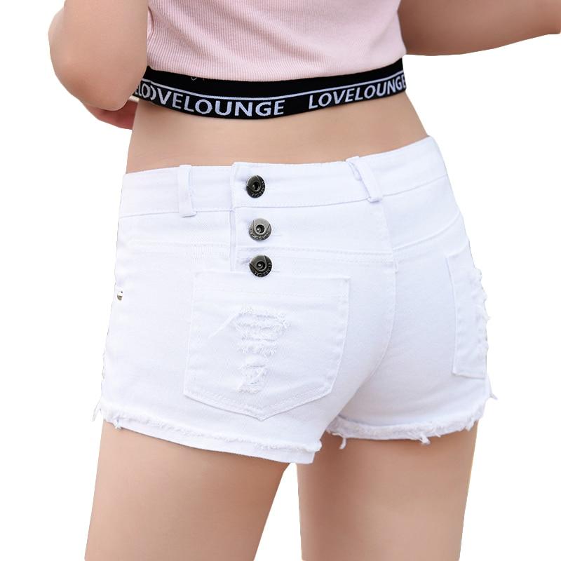 Ultra Short Cotton Denim Shorts For Women Skinny Low Waist Holes Tassel Jeans Shorts Sexy Clubwear Micro Mini Hot Short Feminino