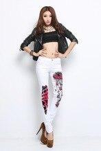 2016 women's new jeans print pants tight pencil pants white