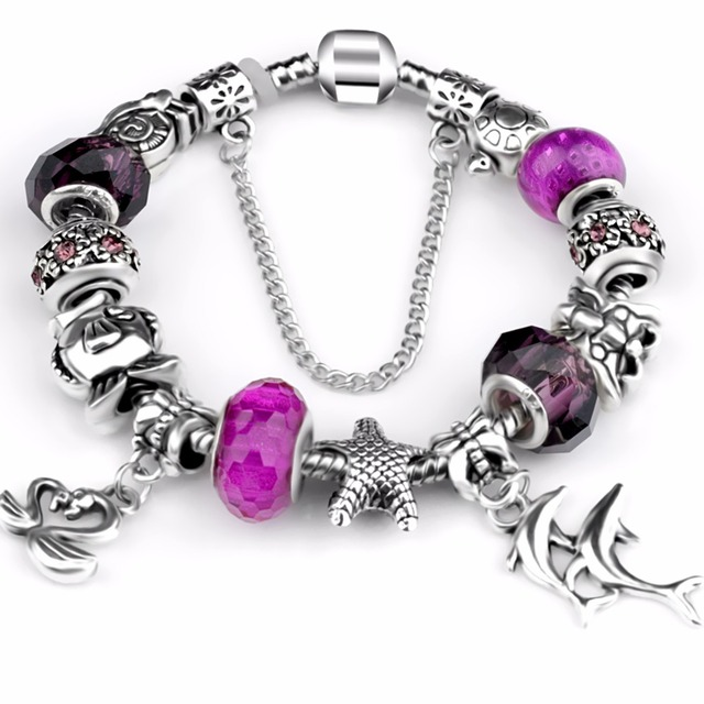 Antique Silver Color Starfish Dolphin Bead fit P Bracelet Ocean Charm Bracelets & Bangles Fashion Jewelry Gift Pulseras