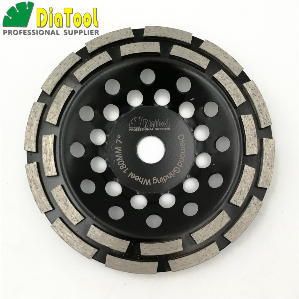DIATOOL 7 Inches Sintered Diamond Double Row Grinding Cup Wheel 180MM Grinding Disc Bore 22.23MM For Concrete z lion 4 diamond cup wheel grit 30 silent core turbo cup grinding aluminum base abrasive tool for concrete granite thread m14