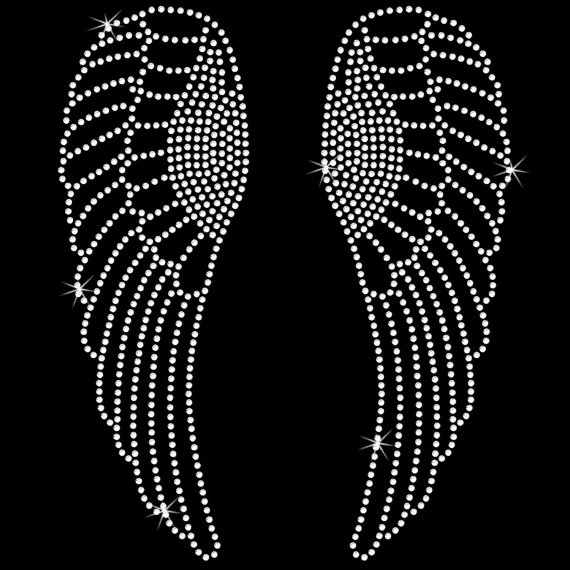 2pc/lot Angel Wings Iron On bling tansferhot fix rhinestone transfer motifs iron on design rhinestone applique patch  for shirt