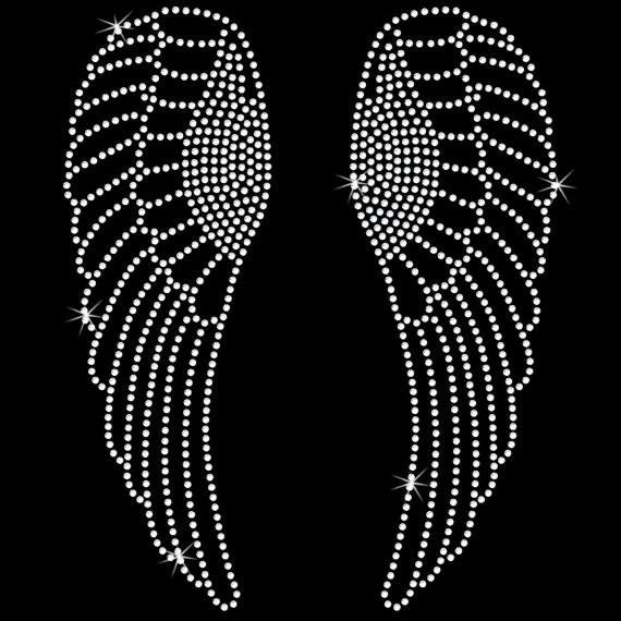 872e60fe 2pc/lot Angel Wings Iron On bling tansferhot fix rhinestone transfer motifs  iron on design rhinestone applique patch for shirt