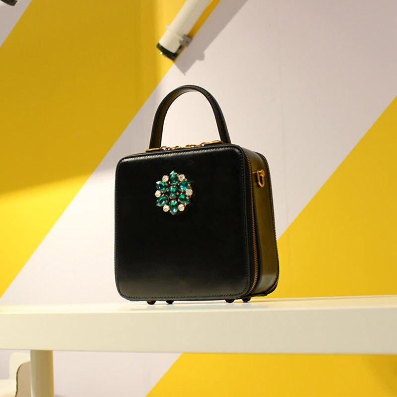 Sac carré en cuir de bovin pour femme 2019 rétro mode femmes diamants noirs sac à main sac à bandoulière unique mini sac c381 - 6