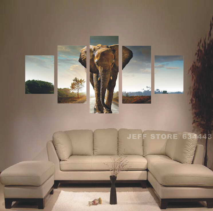 Wall Pictures For Living Room 5pcs Elephant Painting Art ...
