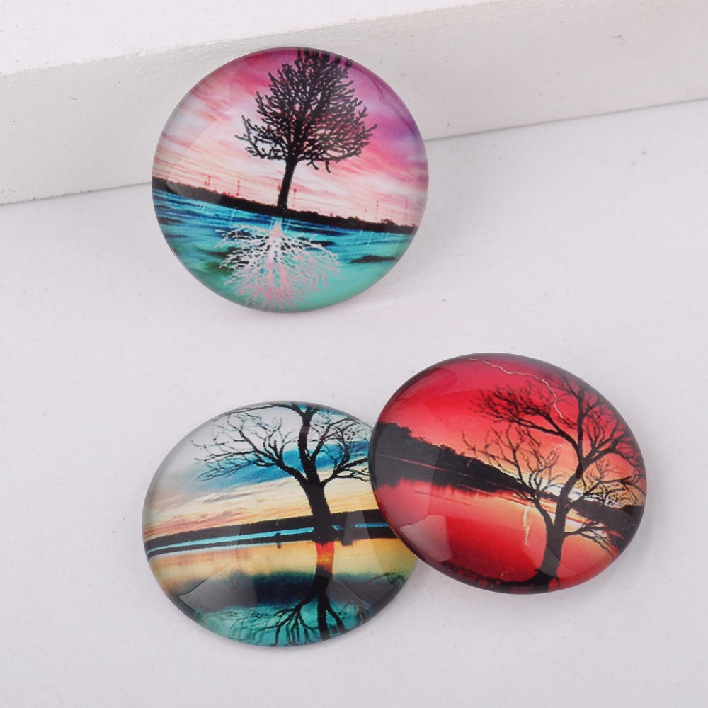 Flatback Round Dome Mixed Tree Reflections Photo Glass Cabochon 10mm 12mm 14mm 18mm 20mm 25mm for jewelry crafts