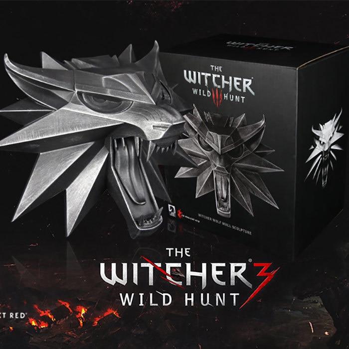 16 cm jeu THE WITCHER chasse sauvage Witcher tête de loup Sculpture murale Figure jouet Collection modèle décoration cadeau