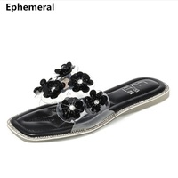 Ladies Transparent Slippers Clear Open Toe Flowers Shoes Spongy Insole Anti Slip Slides Black And White High quality New Fashion