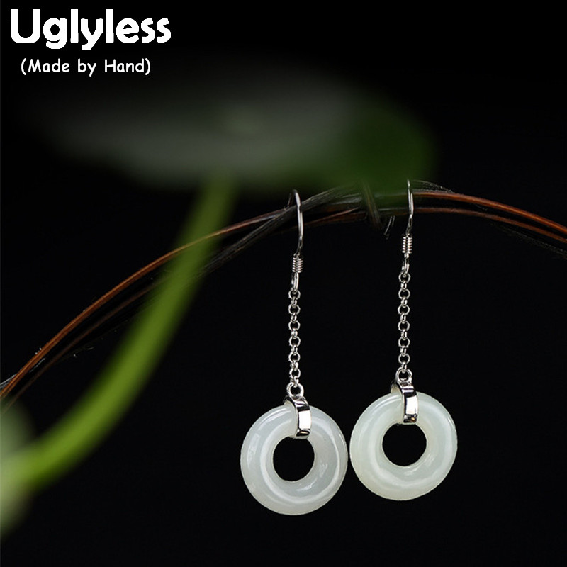 Uglyless Real 925 Sterling Silver Natural Jade White Dangle Earrings Women Elegant Party Statement Brincos Jewelry Ethnic BijouxUglyless Real 925 Sterling Silver Natural Jade White Dangle Earrings Women Elegant Party Statement Brincos Jewelry Ethnic Bijoux