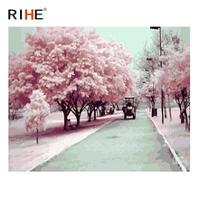 RIHE Pink Tree Road Diy Painting By Numbers Flower Car Oil Cuadros Decoracion Acrylic Paint On Canvas Modern Wall Art