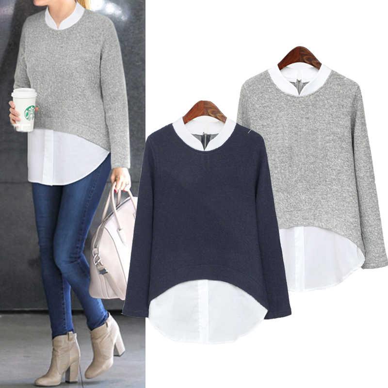 f8fb664c8e9 2019 осень новые женские блузки повседневные с длинным рукавом Блузка  пэчворк поддельные две штуки рубашки плюс