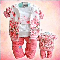 2014 New Arrived Peony Flower Sweater Three Piece Clothing Set Coat T Shirt Pants Cotton 100