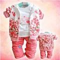 3 unids/set 2015 nueva flor de la niña de la ropa de la muchacha ropa de la capa + camiseta + pantalones de algodón 100% infantil ropa trajes de niña