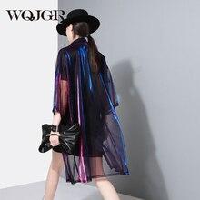 WQJGR 2018 Summer Fashion Blusa Feminina Discoloration Loose Big Size Perspective Half Sleeve Long Shirt Woman