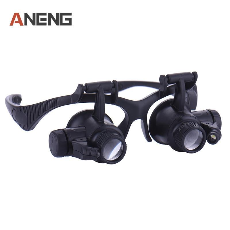 Brand New 10x 15x 20x 25x Led Double Eye Jeweler Watch Repair Magnifier Glasses Loupe Lens Watch Repair Tool Repair Tools & Kits