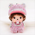 Cute Monchichi Keychain Rhinestone girl Doll Pendant Key holder Monchichi sleutelhanger Key ring Women Bag Charm Accessories