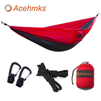 Acehmks Acehmks Camping Hammock Swings 270CM 140CM Aluminum Alloy Snap Single Outdoor Portable Ultralight Parachute Hammock