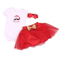 2018 New Baby Clothes Christmas Santa Claus Dress Cotton Infant Bebe Newborn Clothing Costume 3PCS Set Baby Girl Outfits Costume