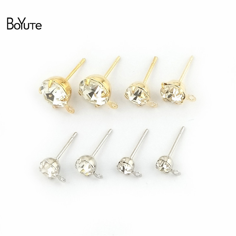 BoYuTe (20 Pieces/Bag) 4-5-6-8MM Crystal Stud Earrings Gold White K Plated Ear Pin With Loop Diy Hand Made Jewelry Accessories