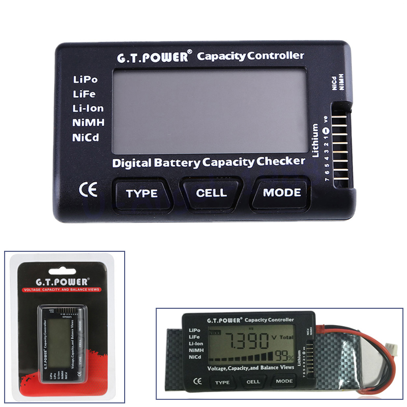1pcs G.T.Power 2-7S Digital Battery Capacity Checker Controller Tester for LiPo Li-ion NiMH Nicd Voltage Balance View