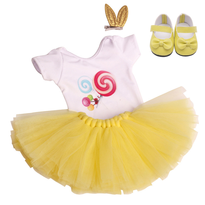 18 inch Girls <font><b>doll</b></font> dress swimsuit candy <font><b>set</b></font> lace skirt with shoes American born <font><b>clothes</b></font> Baby toys fit <font><b>43</b></font> <font><b>cm</b></font> baby <font><b>dolls</b></font> c740 image