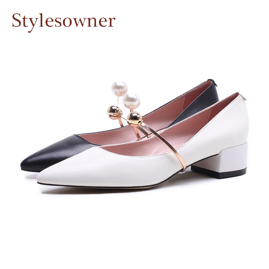 Stylesowner spring summer women shoes high heel genuine leather pearl metal decor women pump pointed toe elegant lady dress shoe stylesowner elegant lady pumps sandal shoe sheepskin leather diamond buckle ankle strap summer women sandal shoe