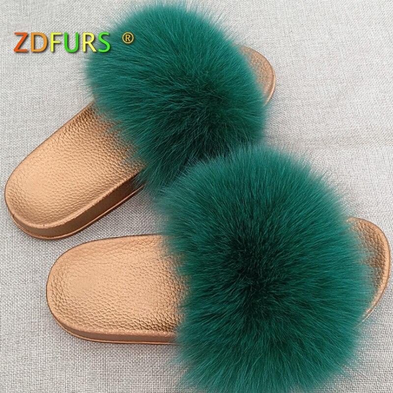 ZDFURS* 2018 New Arrival Female Summer Fur Slides Fashion Fox Fur Slippers Flip Flop Fluffy Plush PVC Beach Sandal Shoes Fox