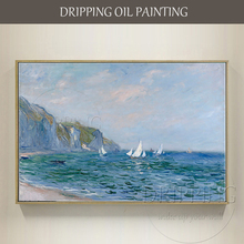 Reproduction Cloud Monet Oil Painting on Canvas Hand-painted Cliffs and Sailboats at Pourville for Living Room Wall Decoration